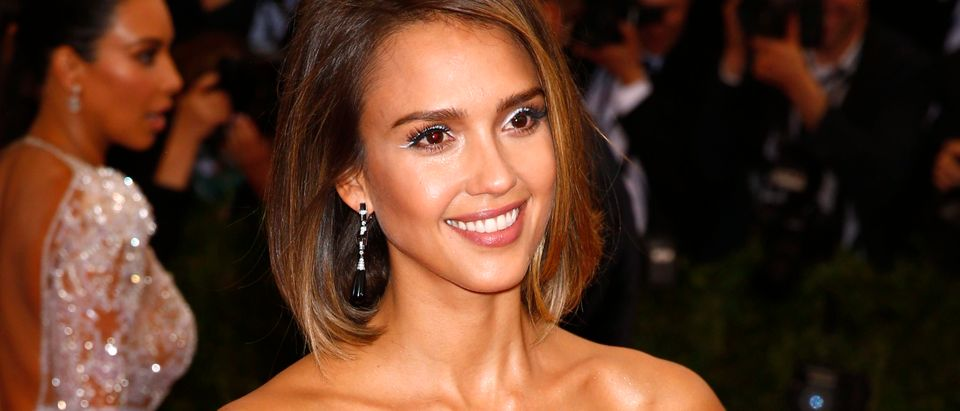 """Jessica Alba arrives at the Metropolitan Museum of Art Costume Institute Gala 2015 celebrating the opening of """"China: Through the Looking Glass,"""" in Manhattan"""