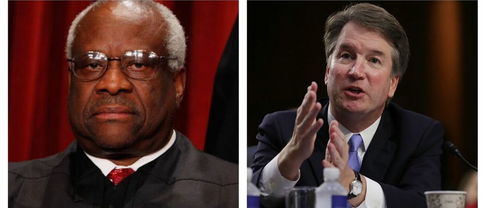 A senior fellow at a free-market think tank said Supreme Court nominee Brett Kavanaugh (R) shares a major similarity with Supreme Court Justice Clarence Thomas (L) and it has nothing to do with sexual misconduct. (Photos: Getty Images/Both By Chip Somodevilla)