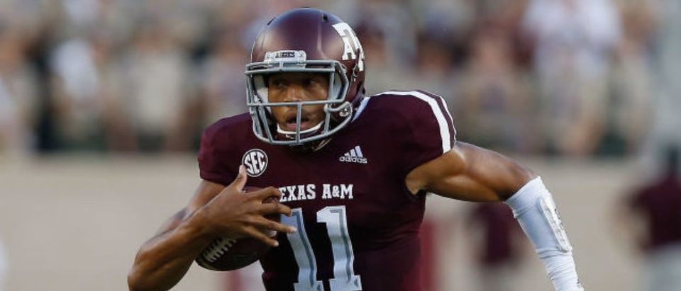 COLLEGE STATION, TX - SEPTEMBER 15: Kellen Mond #11 of the Texas A&M Aggies runs with the ball against the Louisiana Monroe Warhawks in the first half at Kyle Field on September 15, 2018 in College Station, Texas. (Photo by Bob Levey/Getty Images)