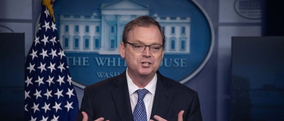 Kevin Hassett, chairman of the Council of Economic Advisers, speaks during a briefing at the White House in Washington, D.C., on Sept. 10, 2018. (Photo credit: NICHOLAS KAMM/AFP/Getty Images)