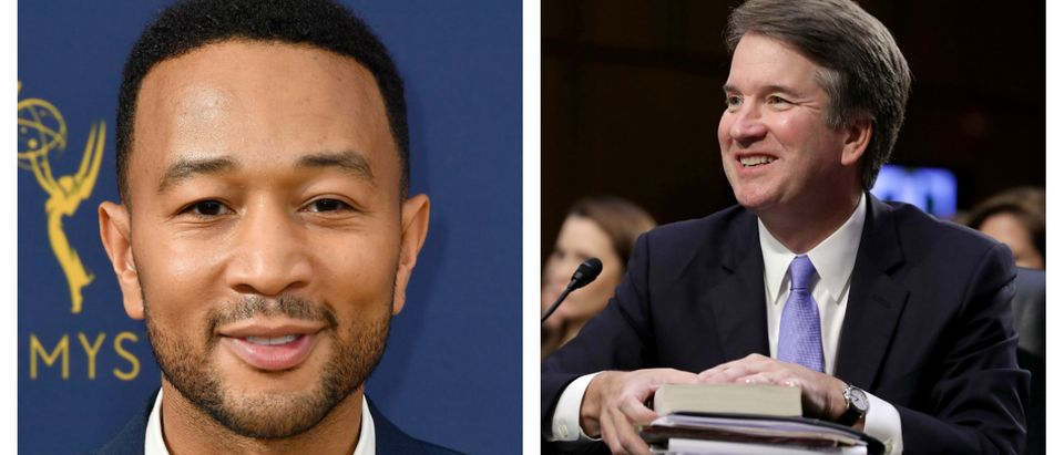 LOS ANGELES, CA - SEPTEMBER 17: John Legend attends the 70th Emmy Awards at Microsoft Theater on September 17, 2018 in Los Angeles, California. (Photo by Frazer Harrison/Getty Images). WASHINGTON, DC - SEPTEMBER 06: Supreme Court nominee Judge Brett Kavanaugh testifies before the Senate Judiciary Committee on the third day of his Supreme Court confirmation hearing on Capitol Hill September 6, 2018 in Washington, DC. Kavanaugh was nominated by President Donald Trump to fill the vacancy on the court left by retiring Associate Justice Anthony Kennedy. (Photo by Chip Somodevilla/Getty Images)
