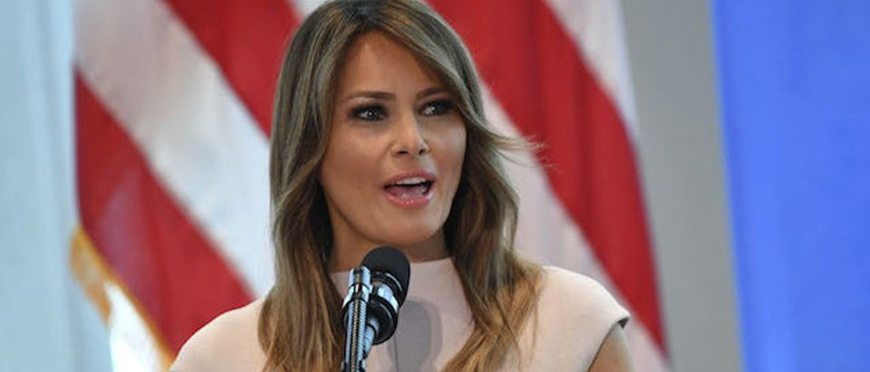 US First Lady Melania Trump hosts a reception for spouses of visiting heads of State and others at the US Mission to the United Nations in New York on September 26, 2018. (Photo credit: MANDEL NGAN/AFP/Getty Images)