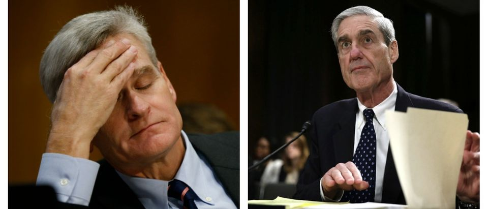 LEFT: U.S. Senator Bill Cassidy sits at the witness table during a Senate Finance Committee hearing on the Graham Cassidy bill on Capitol Hill September 25, 2017 (REUTERS/Kevin Lamarque) RIGHT: WASHINGTON, DC - JUNE 19: FBI Director Robert Mueller waits for the beginning of a hearing before the Senate Judiciary Committee on Capitol Hill. (Photo by Alex Wong/Getty Images)