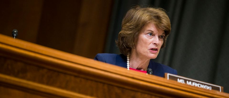 WASHINGTON, D.C. -- MAY 09: Sen. Lisa Murkowski (R-AK) speaks during a Senate Appropriations Subcommittee on Defense hearing to review the FY2019 budget request for the U.S. Dept. of Defense on Capitol Hill on May 9, 2018 in Washington, DC. Chairman of the Joint Chiefs of Staff Gen. Joseph Dunford, Secretary of Defense James Mattis, and Under Secretary of Defense Chief Financial Officer David Norquist testified. (Photo by Zach Gibson/Getty Images)