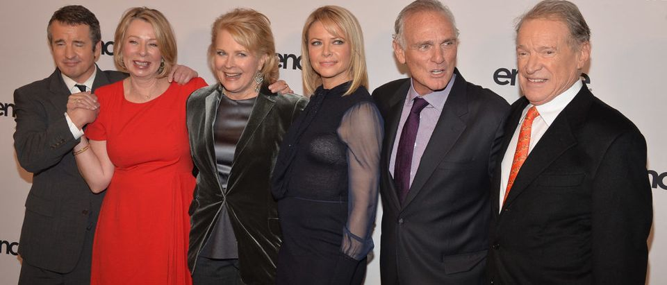 "Grant Shaud, Diane English, Candice Bergen, Faith Ford, Joe Regalbuto and Charles Kimbrough attend the ""Murphy Brown"": a 25th anniversary event at Museum of Modern Art on December 11, 2013 in New York City. (Photo by Theo Wargo/Getty Images)"