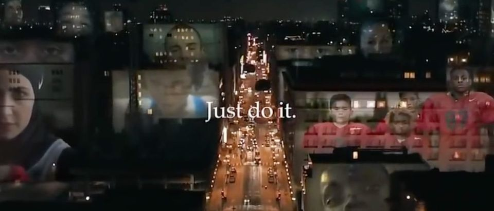 Pictured is a Nike commercial ad. (YouTube screenshot/ABC7 News Bay Area)