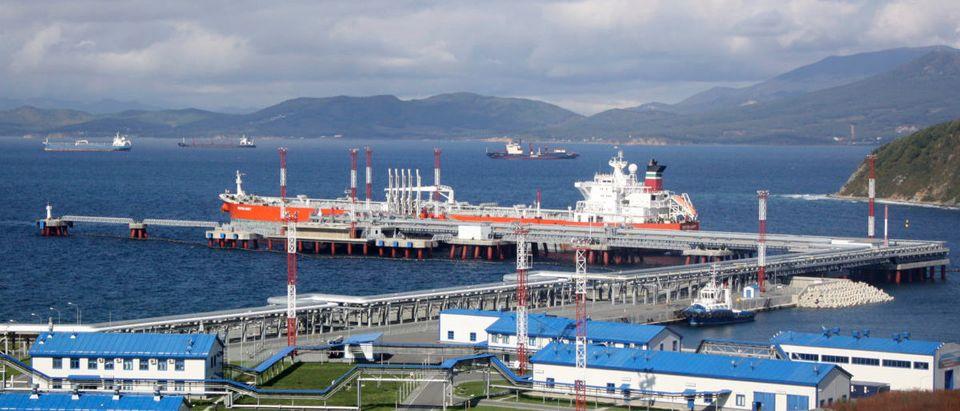 The Kozmino oil-loading port in the bay of Kozmino.