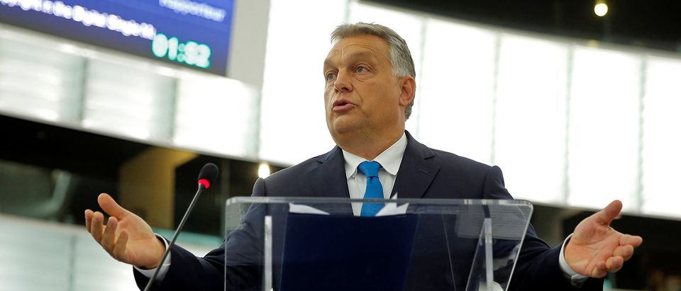 Hungarian Prime Minister Viktor Orban addresses MEPs during a debate on the situation in Hungary at the European Parliament in Strasbourg