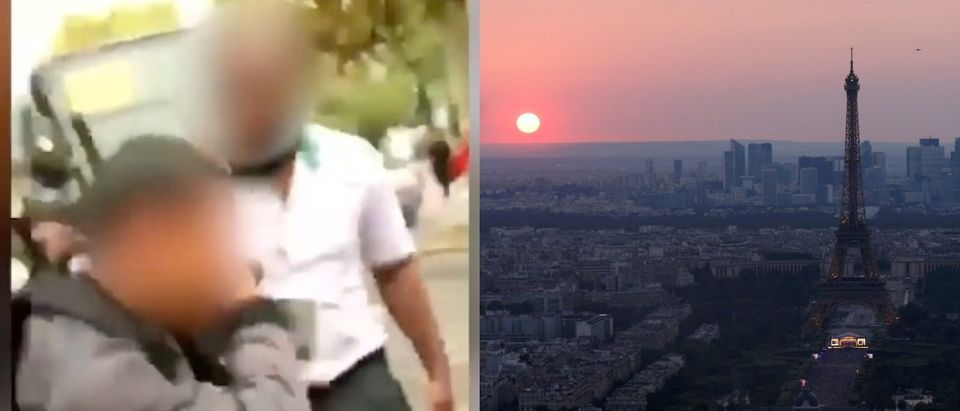 LEFT - Paris bus driver slaps boy. (Photo: Screenshot/Le Parisien 94). RIGHT - The sun sets on the horizon during an open air concert at the Eiffel Tower, in a picture taken from the Montparnasse Tower Observation Deck, at the end of Bastille Day events in Paris, France, July 14, 2018. REUTERS/Pascal Rossignol