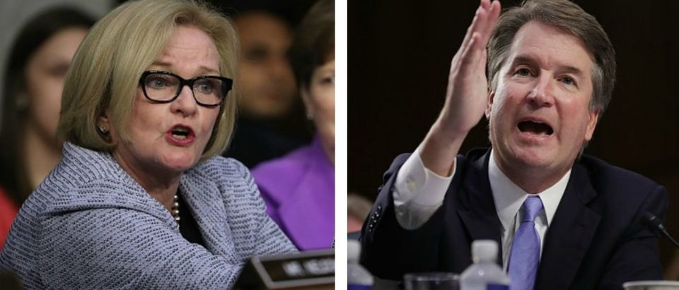 """Missouri Democratic Sen. Claire McCaskill said Wednesday she will vote """"no"""" for Judge Brett Kavanaugh, hours after saying she would put the high school-era sexual assault accusation against the Supreme Court nominee """"aside."""" (Photo by Chip Somodevilla:Getty Images & Photo by Win McNamee:Getty Images)"""