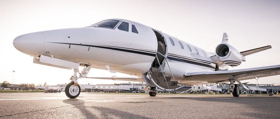 Luxury business jet ready for boarding.