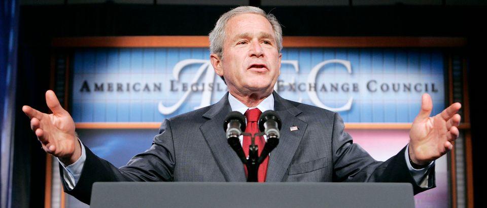 U.S. President George W. Bush speaks to the American Legislative Exchange Council in Philadelphia