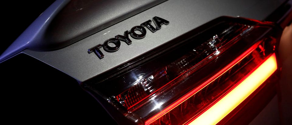 FILE PHOTO:The logo of Toyota Motor Corp. is seen on a company's Corolla car in Caracas