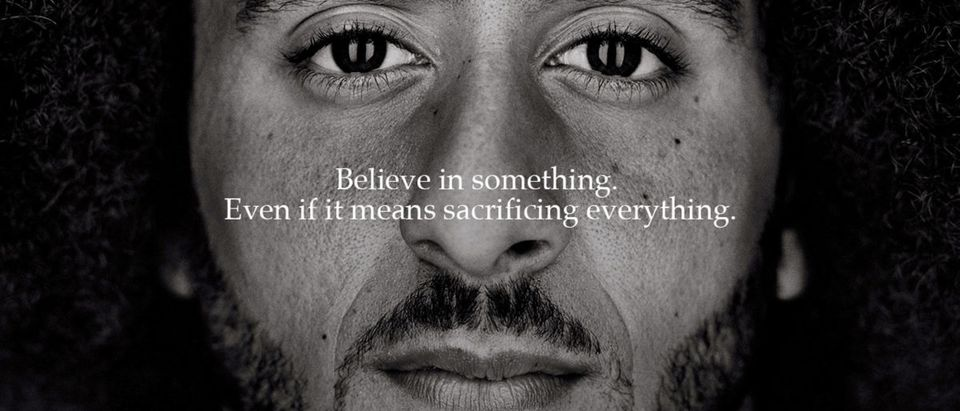 """FILE PHOTO: Colin Kaepernick appears as a face of Nike Inc advertisement marking the 30th anniversary of its """"Just Do It"""" slogan"""