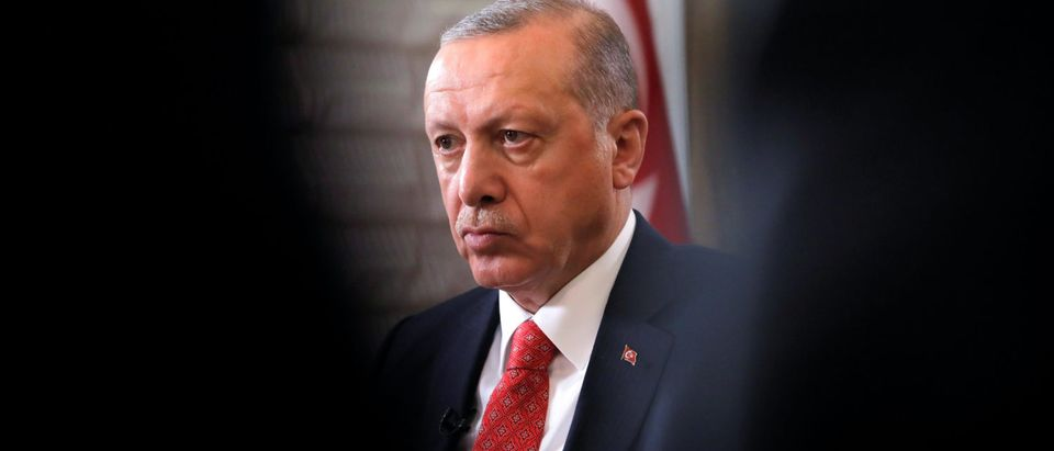 Turkish President Tayyip Erdogan sits during an interview with Reuters in Manhattan, New York