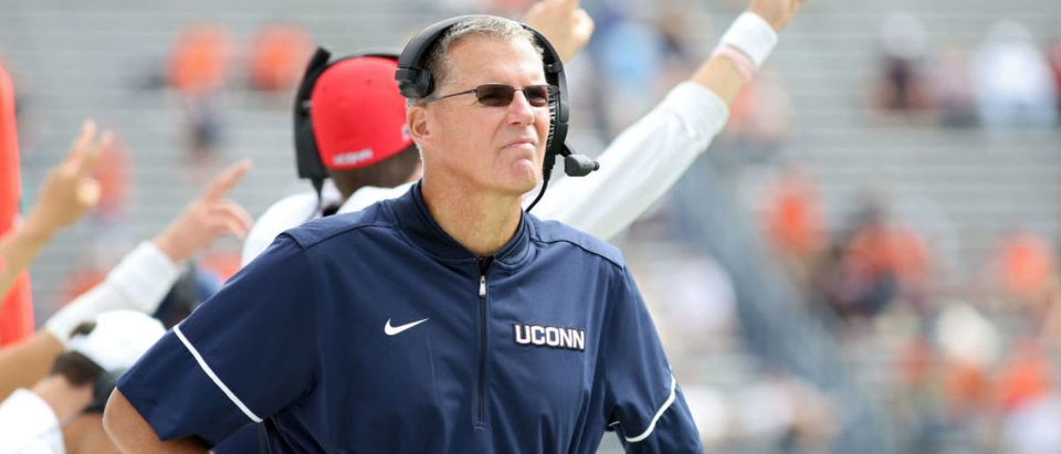 CHARLOTTESVILLE, VA - SEPTEMBER 16: Head coach Randy Edsall of the Connecticut Huskies watches a replay during a game against the Virginia Cavaliers at Scott Stadium on September 16, 2017 in Charlottesville, Virginia. (Photo by Ryan M. Kelly/Getty Images)