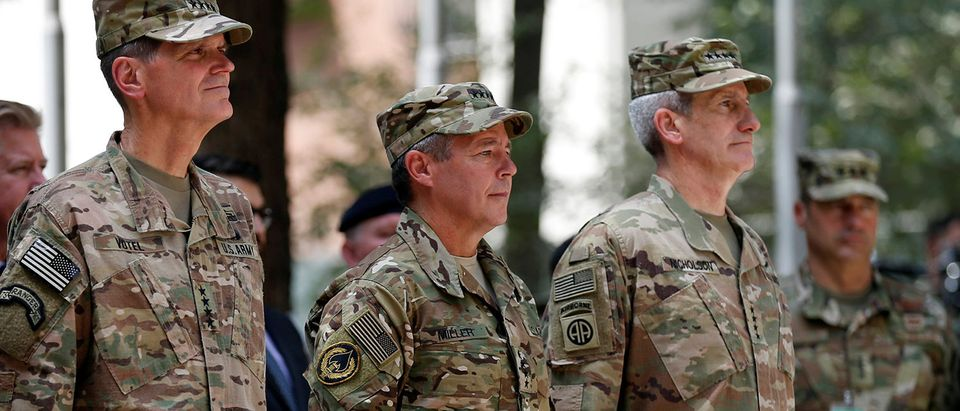 Incoming Commander of Resolute Support forces and command of NATO forces in Afghanistan, U.S. Army General Scott Miller stands during a change of command ceremony in Resolute Support headquarters in Kabul, Afghanistan