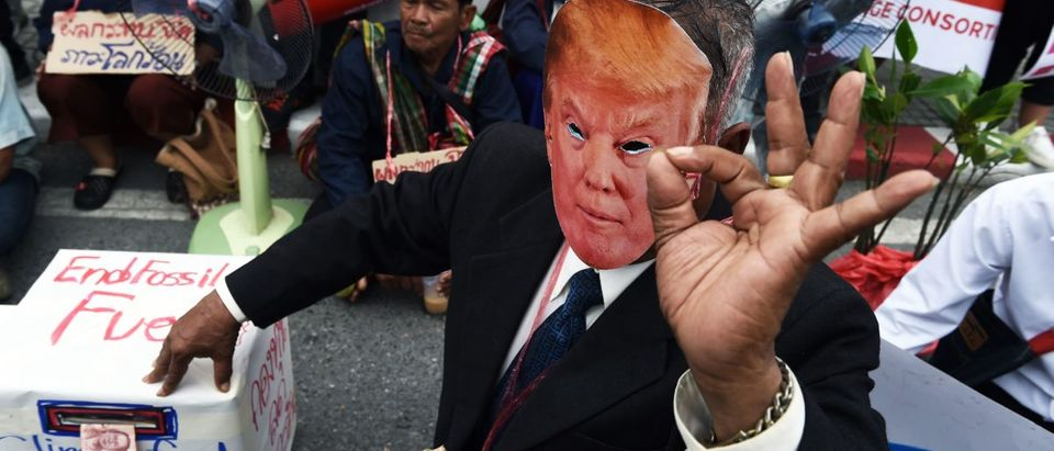 An environmental activist wearing a face-mask depicting U.S. President Donald Trump takes part in a demonstration in front of the United Nations building, where experts from across the planet locked in key talks aimed at breathing life into the Paris Agreement on climate change, in Bangkok on September 8, 2018. (Photo by LILLIAN SUWANRUMPHA / AFP)