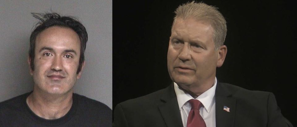 Left: Pictured is Farzad Fazeli, who allegedly tried to stab Rudy Peters. Right: Pictured is Peters, who is running for Congress in California. Photo L: Alameda County Sheriff Office R: Screenshot/YouTube