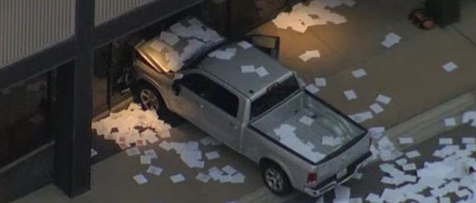 Truck Rams Into Fox Affiliate (Fox 4 Screenshot)
