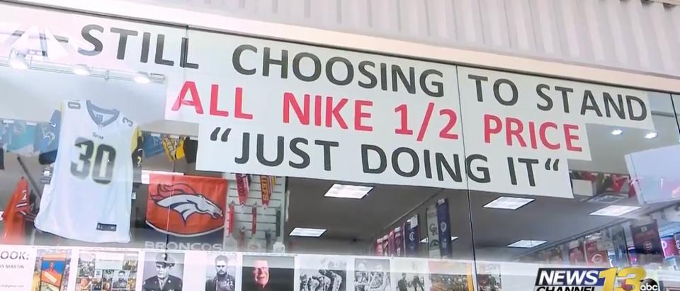 Prime Time Sports in Colorado Springs, Colorado, liquidates Nike apparel after Colin Kaepernick ad. (Photo: Screenshot/KRDO)