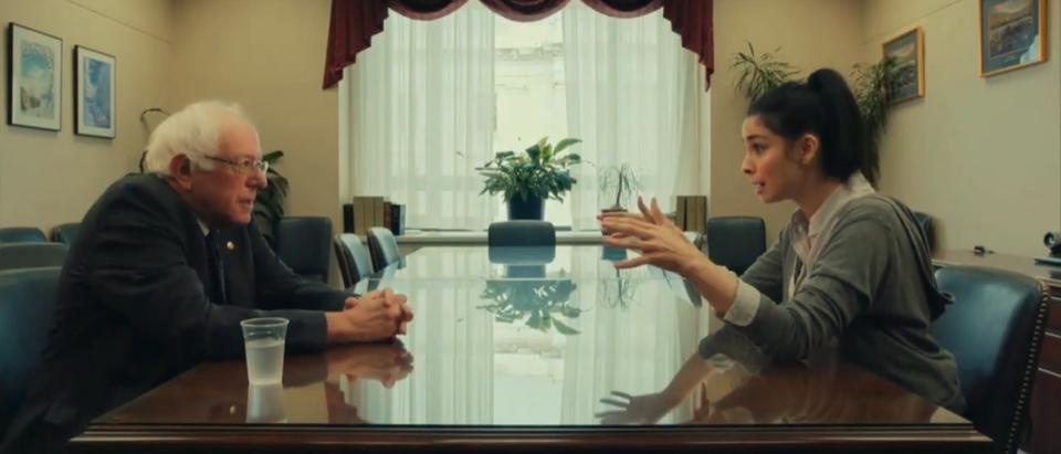 Vermont Sen. Bernie Sanders sits for an interview with Sarah Silverman 9PHOTO:Screenshot/GOPWarRoom)