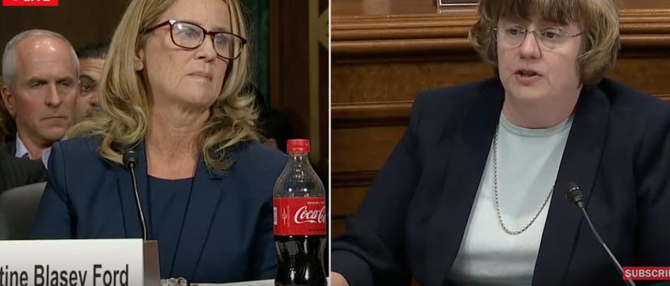 Screen Shot:Youtube: Christine Blasey Ford face Senate panel