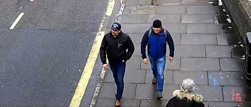 Alexander Petrov and Ruslan Boshirov, who were formally accused of attempting to murder former Russian spy Sergei Skripal and his daughter Yulia in Salisbury, are seen on CCTV in an image handed out by the Metropolitan Police in London