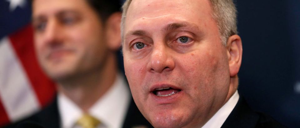 Scalise speaks during media availability on Capitol Hill in Washington