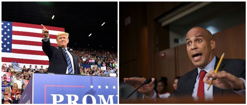 President Trump and Sen. Booker (LEFT: NICHOLAS KAMM/AFP/Getty Images RIGHT: Photo by Drew Angerer/Getty Images)