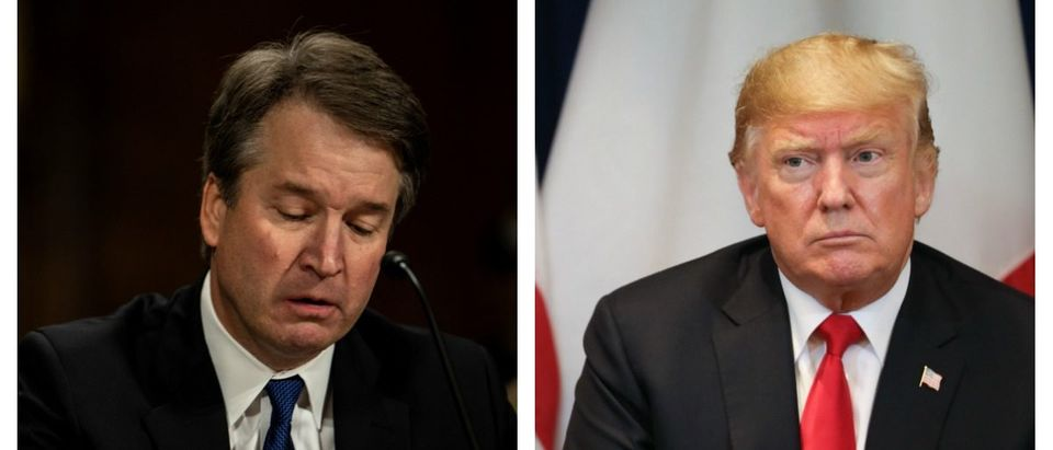 LEFT: Judge Brett M. Kavanaugh testified in front of the Senate Judiciary committee regarding sexual assault allegations at the Dirksen Senate Office Building on Capitol Hill Thursday, September 27, 2018. at a Senate Judiciary Committee hearing on September 27, 2018 on Capitol Hill. (Erin Schaff-Pool/Getty Images) RIGHT: US President Donald Trump during a bilateral meeting with French President Emmanuel Macron (off frame) in New York on September 24, 2018, a day before the start of the General Debate of the 73rd session of the General Assembly. (Ludovic Marin/AFP/Getty Images)
