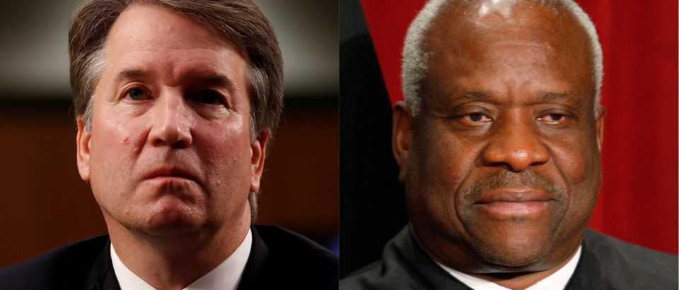 Kavanaugh and Clarence, Reuters/ Joshua Roberts and Larry Downing
