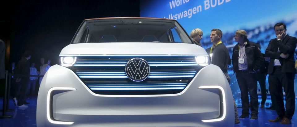 The Volkswagen BUDD-e electric vehicle is displayed during a keynote address at the 2016 CES trade show in Las Vegas