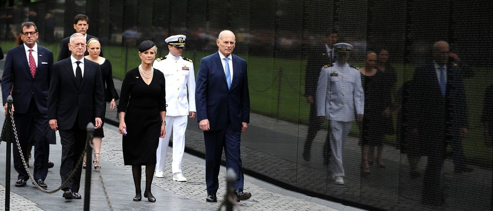 U.S. Secretary of Defense James Mattis, General John Kelly, White House Chief of Staff and Cindy McCain, wife of late Senator John McCain, arrive to lay a ceremonial wreath honoring all whose lives were lost during the Vietnam War at the Vietnam Veterans Memorial in Washington, U.S., September 1, 2018. REUTERS/Mary F. Calvert