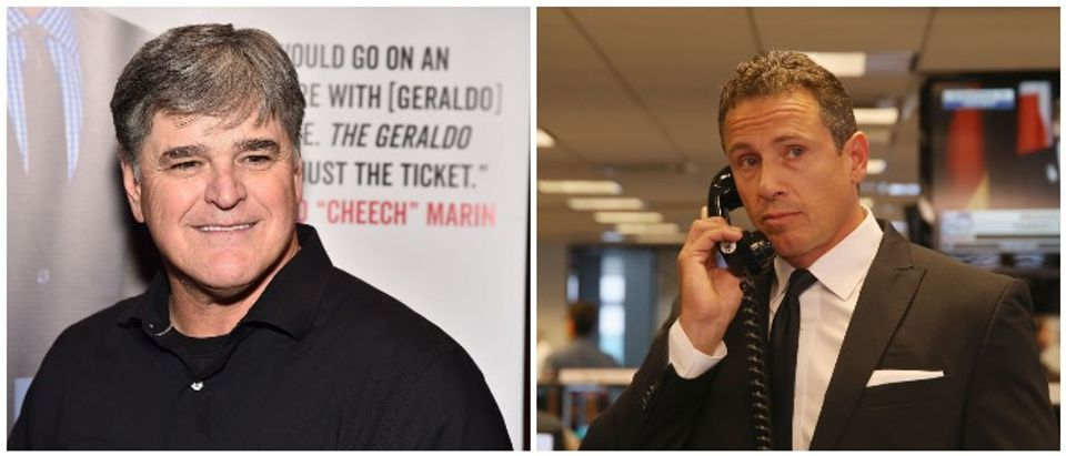 Sean Hannity side by side with Chris Cuomo (LEFT: Photo by Theo Wargo/Getty Images, RIGHT: Photo by Donald Bowers/Getty Images for Cantor Fitzgerald)