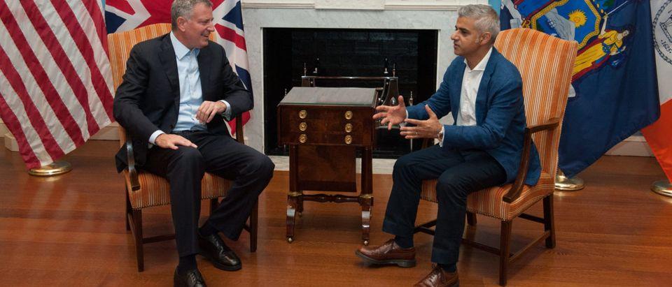 NYC Mayor Bill De Blasio Meets With London Mayor Sadiq Khan