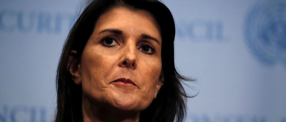 U.S. Ambassador to the United Nations Nikki Haley speaks to members of the media after chairing a meeting of the U.N. Security Council on maintenance of international peace and security at U.N. headquarters in New York, U.S., September 10, 2018. REUTERS/Mike Segar
