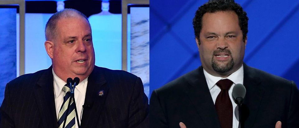 Larry Hogan and Ben Jealous will face off for the Maryland governorship in November 2018. Photos via Larry French/Getty Images for MGM National Harbor and Photo by Alex Wong/Getty Images