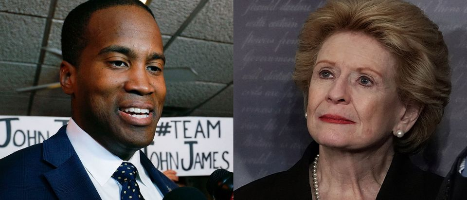 John James is a Republican challenging Democratic incumbent Debbie Stabenow in the 2018 Senate race. Getty Images via Alex Wong and Bill Pugliano