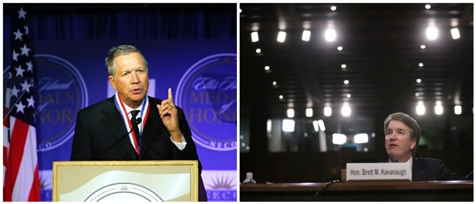 Brett Kavanaugh and John Kasich (LEFT: KENA BETANCUR/AFP/Getty Images RIGHT: Photo by Drew Angerer/Getty Images)