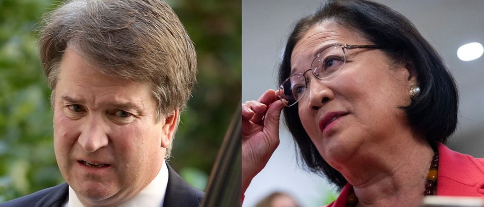 Hawaii Democratic Sen. Mazie Hirono (L) and Supreme Court nominee Judge Brett Kavanaugh (R). Getty Images via users Win McNamee and Drew Angerer
