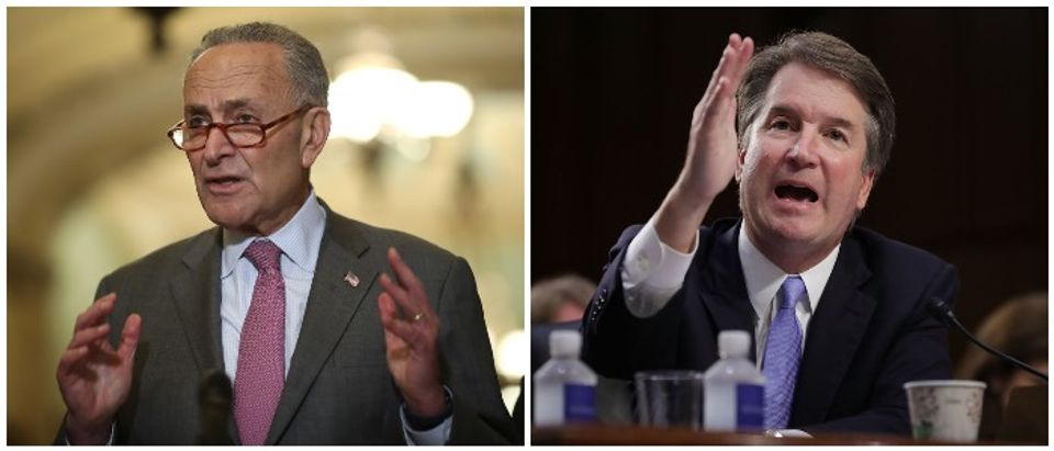Brett Kavanaugh and Chuck Schumer (LEFT: Photo by Win McNamee/Getty Images RIGHT: Photo by Chip Somodevilla/Getty Images)
