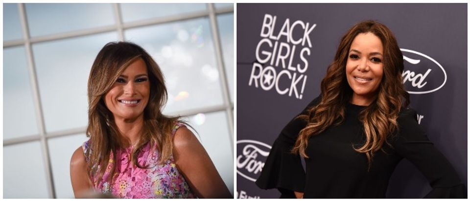 Melania Trump split with Sunny Hostin (LEFT: BRENDAN SMIALOWSKI/AFP/Getty Images RIGHT: Photo by Dave Kotinsky/Getty Images for BET)