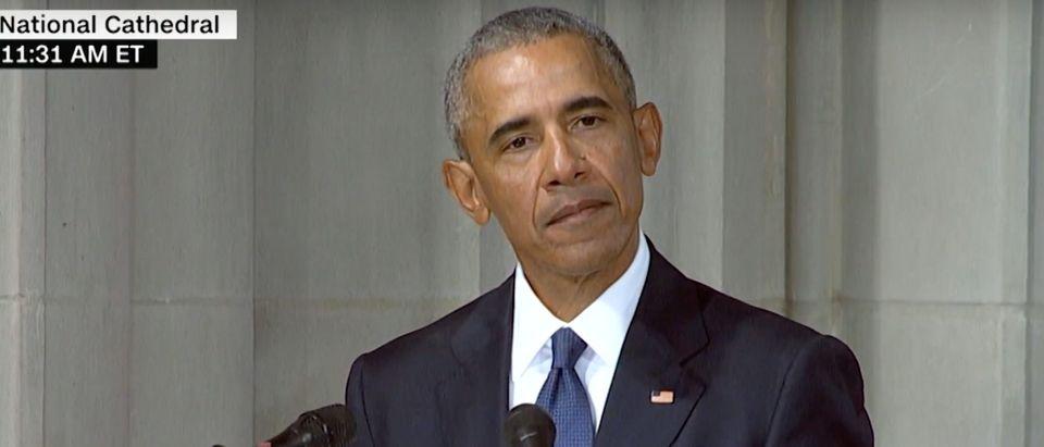 Obama delivers eulogy at service for Senator John McCain./Screenshot