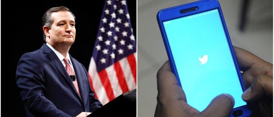 Left: Sen. Ted Cruz, Right: Twitter Logo (Getty Images)