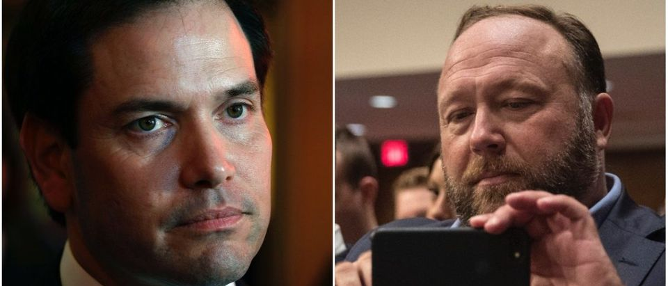 Left: Sen. Marco Rubio, Right: Alex Jones (Getty Images)