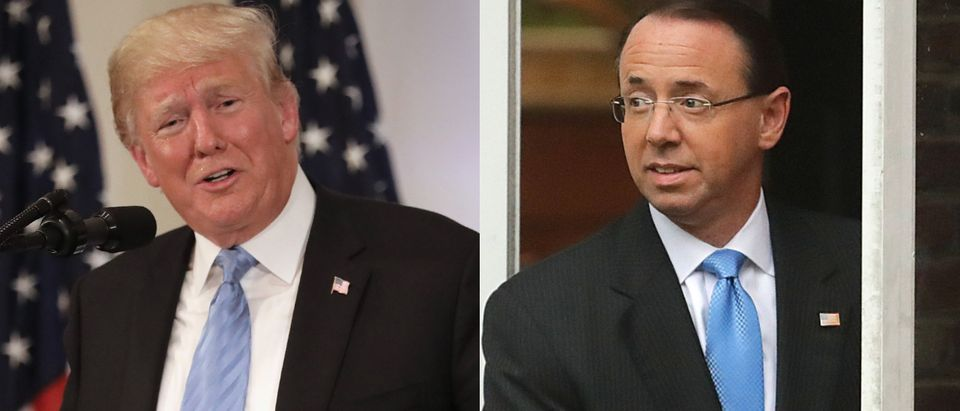 President Donald Trump was scheduled to meet with deputy attorney general Rod Rosenstein Thursday. John Moore/Getty Images (L) and Chip Somodevilla/Getty Images (R)