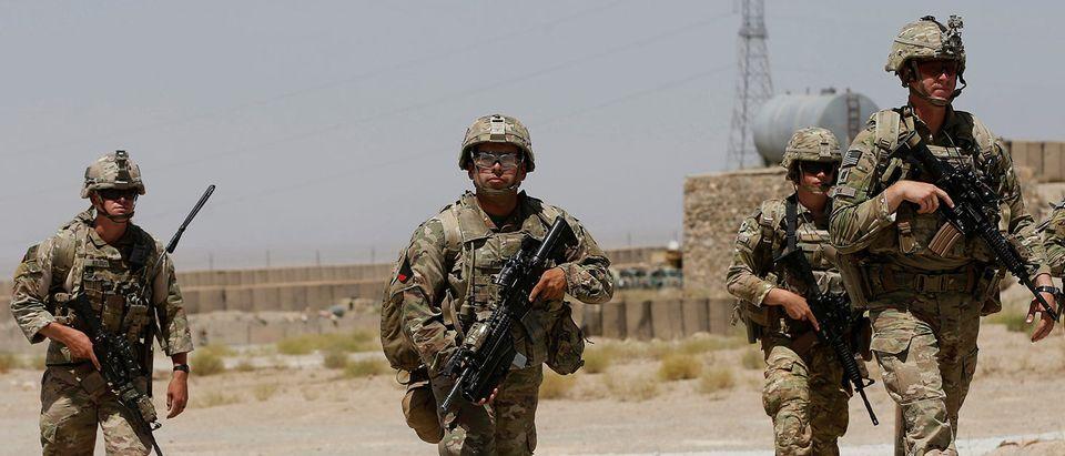 U.S. troops patrol at an Afghan National Army (ANA) Base in Logar province