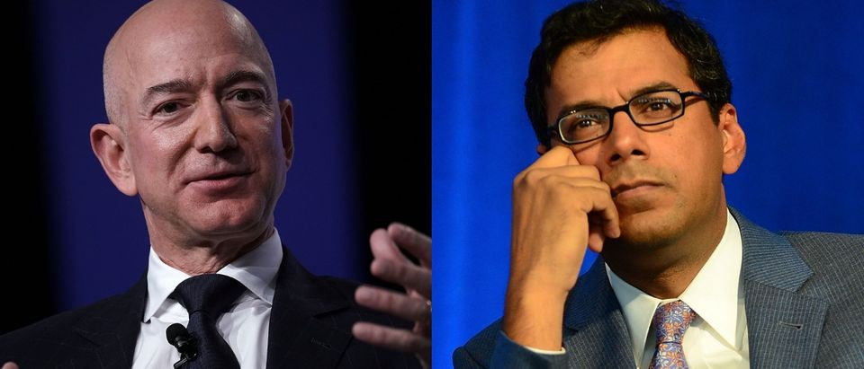 Jeff Bezos (L) and Atul Gawande (R) are working together on a health care venture. Alex Wong/Getty Images and Lisa Lake/Getty Images for Geisinger Health System