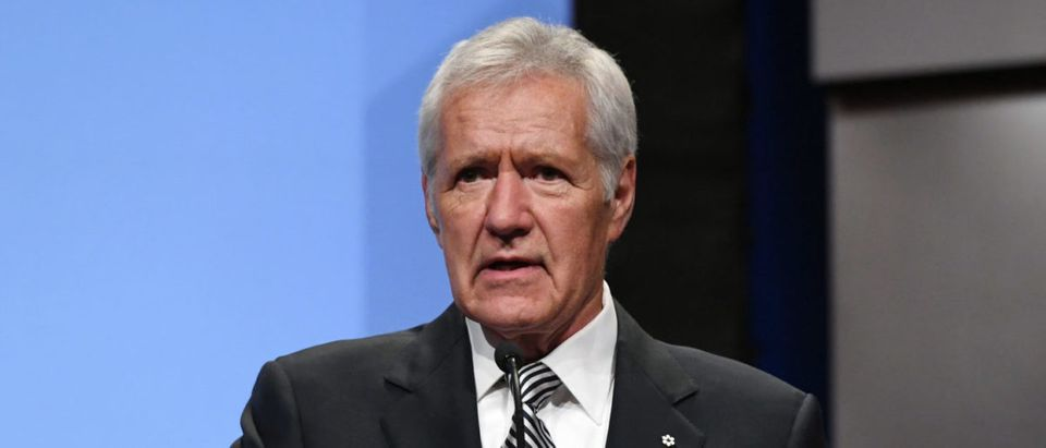 """Jeopardy!"" host Alex Trebek speaks as he is inducted into the National Association of Broadcasters Broadcasting Hall of Fame during the NAB Achievement in Broadcasting Dinner at the Encore Las Vegas on April 9, 2018 in Las Vegas, Nevada. NAB Show, the trade show of the National Association of Broadcasters and the world's largest electronic media show, runs through April 12 and features more than 1,700 exhibitors and 102,000 attendees. (Photo by Ethan Miller/Getty Images)"
